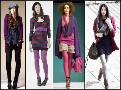 Cowl necklines either constructed as part of a knitwear piece or added as a separate accessory give additional layering looks. Purple and Pink knits.