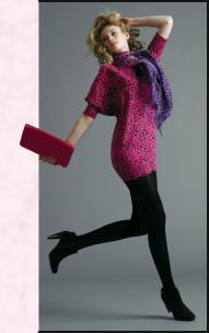 Tesco F&F Pink Animal Print Dress �16, F&F Animal Print Scarf �5, F&F Black Suede Ankle Boots �18, F&F Pink Frame Clutch �7.