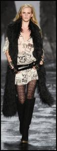 Long Black Toscana Lamb Gilet by Miss Sixty - Worn with black lace hosiery and over the knee boots