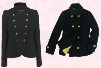 Black military style cropped jacket �35 Sophie Gray at Bhs Womenswear Quality Black Buttoned Marching Band Wool Military Coat From Boden.