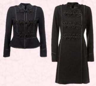 Black Short Military Jacket, �65, �95. Wallis Black military coat, �90/�140. Both pieces Wallis Autumn 2009 Winter 2010.