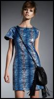 Dorothy Perkins AW09 - Blue Zebra Sequin Dress �50/�80, Black Studded Fringe Bag �35/�50.