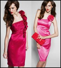 Cherry Red Dress - BDL by Ben de Lisi Corsage Detail Ruched Bust Cocktail Dress �130/�201.  Pink Dress - Debut Soft Flower One Shoulder Stretch Satin Dress �80/�124. Both Autumn/Winter 2009 Womenswear Debenhams
