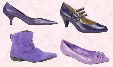 Kaleidoscope Kitten Heel Shoe. Simply Be Three Bar Mary Jane Shoe - Court Shoe �25.  River Island Purple Ankle Boot - �34.99. Barrett's Purple Pointed Low Court Double Knot Detail - �22.