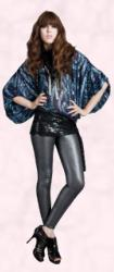 Blue sequin top with bat wings, grey wet look leggings �95, Miss Selfridge AW 2009.