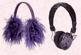 River Island Fur Ear Muffs. Audio Chi W-Series Headphones in Purple Dots �69.95. The W-Series utilises Audio Chi�s Structural Acoustics� Technology