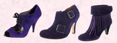 Barratts Dunaway Belle & Mimi purple suede peep toe shoe with lace tie front - �45. Schuh Calvin 2 Buckle Shoe Boot, Purple Suede - �64.99/�85.  Tamaris Purple Fringed Ankle Boot - �69.99 - Sizes 2-9.