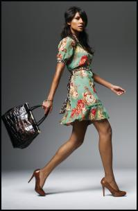 Next AW09 Womenswear Autumn Winter 2009 - Floral and Animal Print Dress �38/�49, Croc Effect Handbag �28/�39, Court Shoes �45/�59, Charm Watch �30/�42.