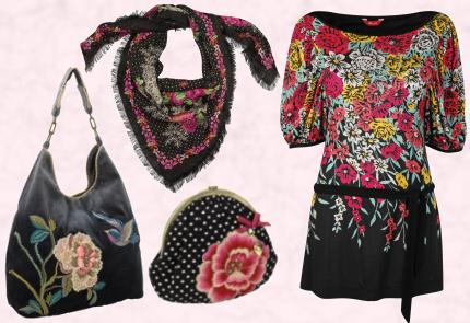 Accessorize Black Hummingbird Velvet Bag �40; Accessorize Black/Pink Gypsy Scarf �15;  Accessorize Back Spotty Flower Clutch �25.  Black Keeley Print Tunic Top �35/�59 Eire Monsoon Autumn / Winter 2009 � Main Range.