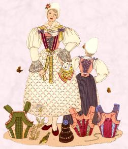 Traditional Austrian Tirol (Gries) Dress - Roses used as pattern on a hand printed linen skirt.