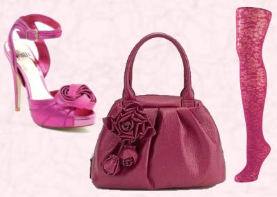 Sparkle Suede Sandal With Ankle Strap, Large Rose Detail - Faith Footwear - Lerose - �70. Autumn Winter Sandals 2009/10 by Faith. Pink Handbag - Marks & Spencer AW2009 Per Una Range. Matalan Pink Floral Hosiery �3 - Matalan AW09.