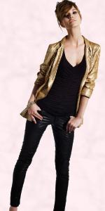 Gold sequin boyfriend blazer �80/�125, Leather skinny trousers �110/�175, Studded bracelet �20/�3.  DP COLLECTION - AW 09 (OCTOBER)- DP COLLECTION @ Dorothy Perkins