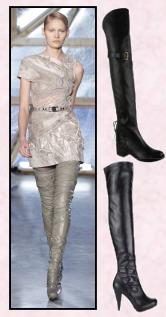 Rodarte catwalk thigh boots. Moda in Pelle Autumn/Winter 2009 Harlow black over the knee leather boot, elasticated back at �180. Littlewoods Oko style over the knee platform stretch (non Leather) boots at �49
