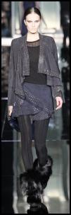 Cavalli suede wrap studded skirt and waterfall drape front jacket. Autumn 2009 leather fashions.