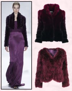 Berry Tones Damson Aubergine - Chubbies - Chubby Fur Jackets. Dark damson collared fur jacket above right is from Marks & Spencer Limited Collection.  The collarless wine fur jacket just below it is from Miss Selfridge.