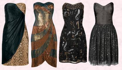 Far Left - Monsoon Eclipse Dress in Gold and Black �180. Near Left - Monsoon Cosmic Dress in Gold & Copper �180. Far Right - Miss Selfridge Stud Sequin Black Dress. Near Right - Miss Selfridge Strapless Dusty Black Dress.