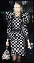 Dolce&Gabbana silver and black bold check dress with gigot style leg of mutton sleeve shoulders.