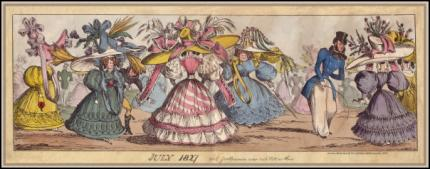Romantic era caricature of sleeves and hats of 1827.