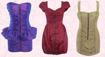 Zip Front Peplum Dress Available in Purple & Gun Metal - RARE AW09.  Red dress Zip Cap Sleeve Dress Available in Red & Navy RARE AW09.  Zip Front Dress Available in Gold & Black RARE AW09.