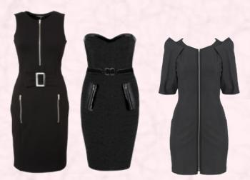 Papaya Zip Detail Body Con Dress �19 - Matalan Womenswear AW09. Andrew Gn Zip Bustier Dress - AW2009. Black Zip Front Dress by Oasis.