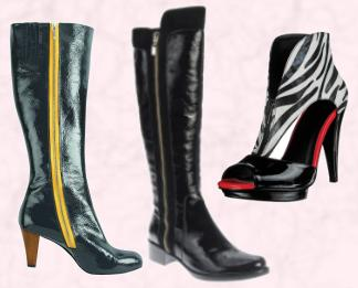 Boden Heeled Boots With Yellow Zipper - Autumn 2009/Winter 2010. Dune Autumn Winter 2009 - Women�s Accessories  Rip B, �140/�195.  Miss Selfridge Autumn/Winter 2009 Shoes - Zebra/Zip Ankle Boot.