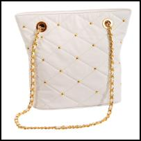 Miss Selfridge Spring/Summer 2009 Accessories quilted white bag with gold chain - �25