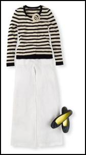 Boden monochrome outfit - black and white striped top and white trousers.