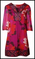Kaftan border print red dress - Fashion trends summer 2009.