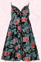 Floral pink rose print on black, empire dress from Harvey Nicholls. Pretty dress fashion trend 2009.