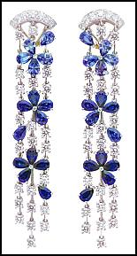 Finest Haute Jewellery - Van Cleef and Arpel Diamond and Sapphire Chandelier Earclips.