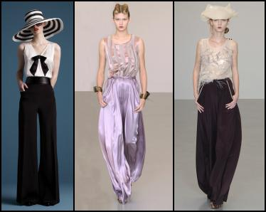 Hobbs wide leg pants left, Roksanda Iilinic pants centre and right.