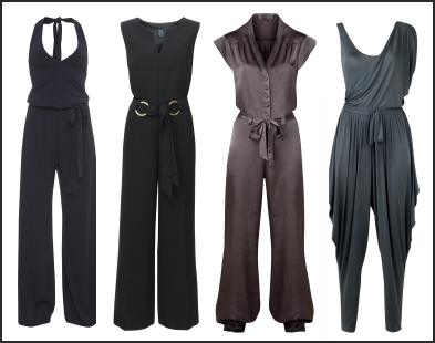 Trousers - Black, Navy, Grey Satin Jumpsuits - Spring 2009 Fashion Trend