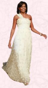 Michelle Obama in Jason Wu white Swarovski evening gown.