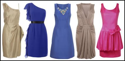 Left - Wallis Spring Summer 09 - Metallic One-shoulder dress �55/�90. Centre Left - Matalan Dresses - Et Vous ruffle one shoulder dress �25 - Matalan SS09 Women's Apparel. Centre - Wallis Spring Summer 09 - Beaded neck shift dress �60/�95. Centre Right - Wallis Spring Summer 09 - Draped deep v-neck dress �40/�60.Far Right - Dorothy Perkins Spring Summer 09 - Pink bubble hem dress with bow �45 �70.