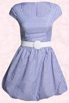 Boohoo.com - Dorothy striped puff ball hem dress with belt and cap sleeves �20 Spring Summer 09.
