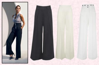 Wide leg trousers. White pants.