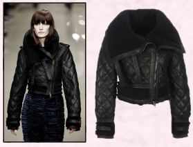 Fur Diamond Quilted Leather Jacket