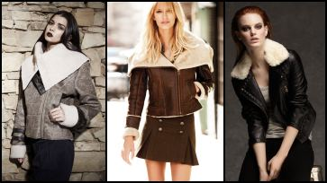 Faux & Sheepskin Aviator Jacket
