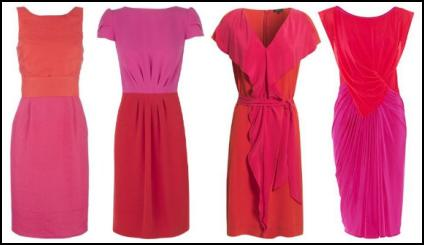 Dresses in bright block colours like hot orange, tangerine, coral and tomato red, against fuchsia pink and magenta.