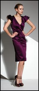 Frank Usher Group AW10 Collection Aubergine Stretch Satin Dress with Animal Print Chiffon Sleeve
