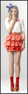 House of Fraser - Therapy Orange & Pink Ruffle Skirt �30/�36, Pink Soda White Puff Sleeve Blouse �65, Red & Orange Stripe Belt �20/�24 French Connection.