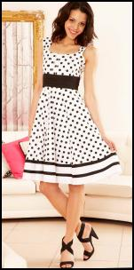 Printed Sleeveless Black Polka Dot On White 50s Dress - Apricot SS10.