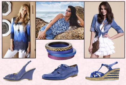 M&Co Boutique Dip Dye Asymmetric Top �35, Matalan. Red Herring Denim Shirt �28/�43, NEXT Bangles,  Bottom Row Left - Hush Puppies Katsia Wedge Royal Blue High Sanadal �50. Bottom Row Centre - Blue Brogue Shoes by Schuh.  Bottom Row Right - Tamaris Blue Patent Wedge, �54.99.
