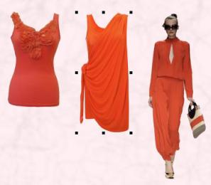 Vest - Appliqu� Bow by Apricot SS10 Ladieswear. Centre - Draped Orange Dress by French Connection. Tangerine Orange Clementine Colour Family - Jaeger Catwalk Model Spring Summer 2010.