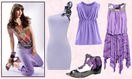 High Street Fashions in Violet Lilac Tones