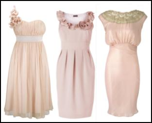 FEVER Ivy Dress Nude �69.99 Fever Designs - Chiffon Corsage Draped One-shoulder Pastel Peach Silk Dress. Phase Eight Grosgrain Ruffle Dress �120, SS 2010. River Island Pink Dress/Detailed Yoke.