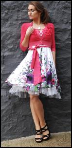 Uttam Pink Lilyana Summer Dress, �55.00, Uttam Hot Pink Maya Cropped Cardigan, �39.50, Uttam London at ColourfulFashion.com.