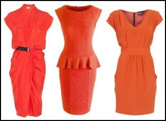Fashion colours 2010. Orange dresses. Orange based light coral red