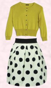 Hobbs lime cardigan, �59 and white/black spot skirt �40 from Oasis.
