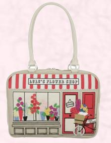 Lulu Guinness Large Florists Shop Jenny Handbag, Stone/Red.